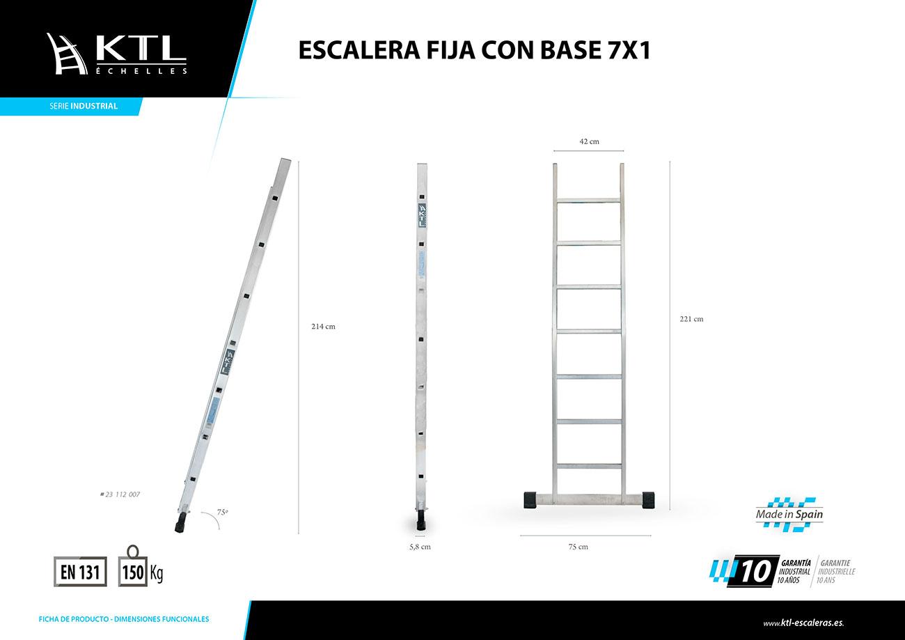 Escalera fija 7x1 modelo 2007 recta simple valck y cia for Escaleras 7 peldanos precio