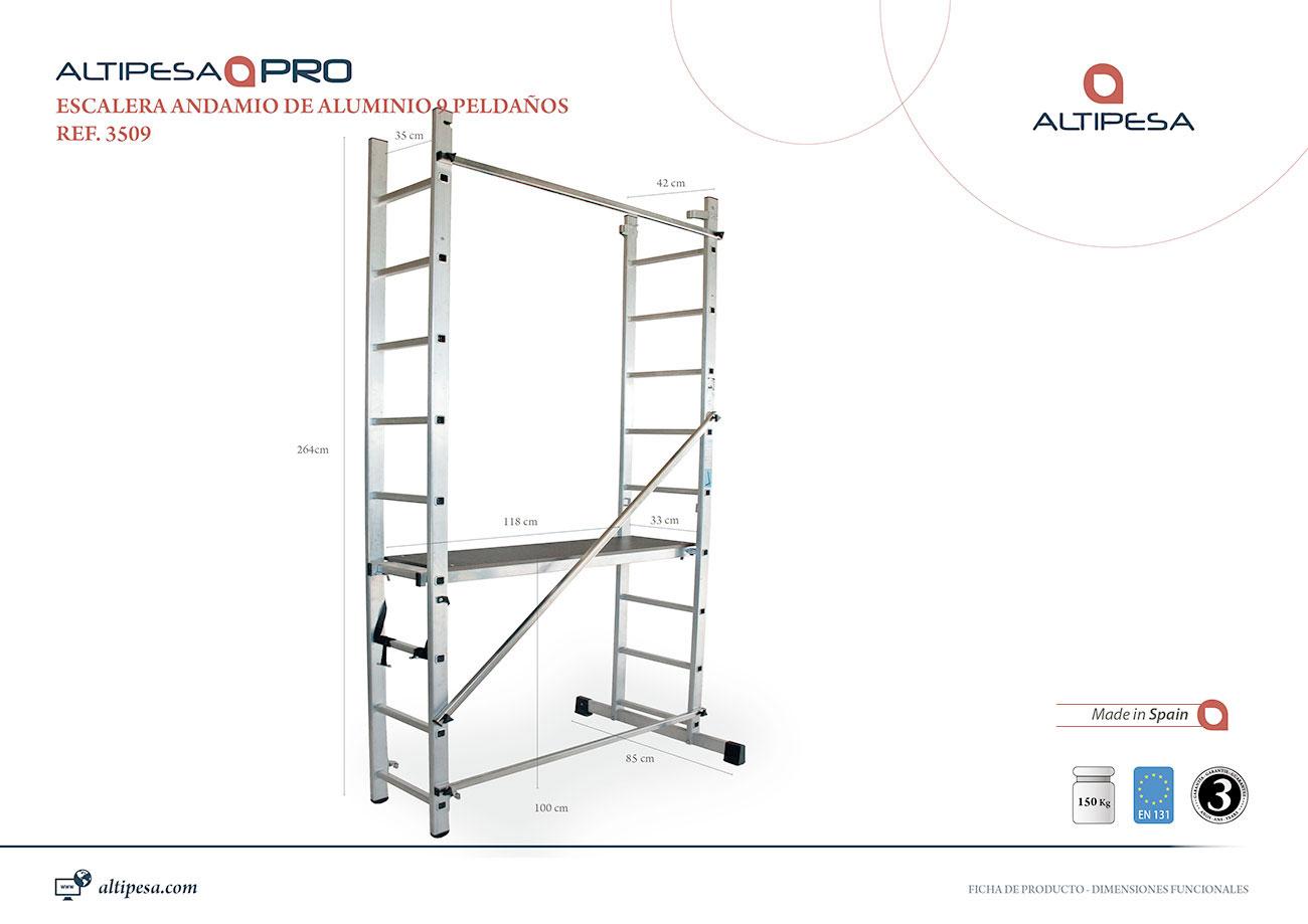 Andamio escalera aluminio 9 pelda os modelo 3509 for Escaleras 9 peldanos