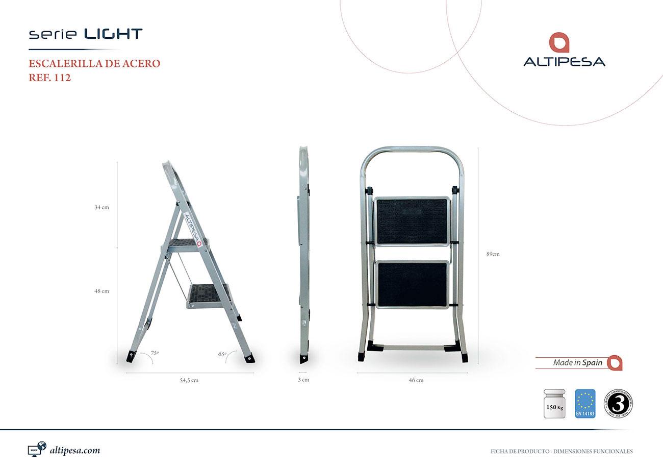 Escalera aluminio acero light 2 pelda os escalera de for Ofertas escaleras de aluminio