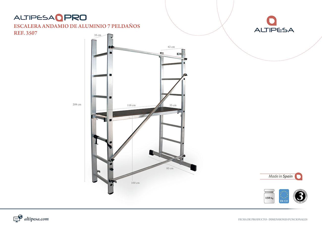 Andamio escalera aluminio 7 pelda os modelo 3507 valck y for Escaleras 7 peldanos precio