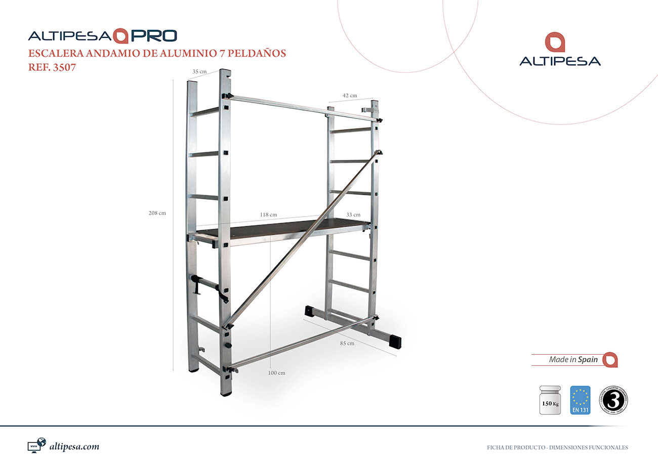 Andamio escalera aluminio 7 pelda os modelo 3507 valck y - Escalera andamio aluminio ...