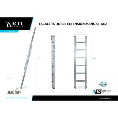 Escalera Doble Extensión Manual 6x2 Modelo 1006