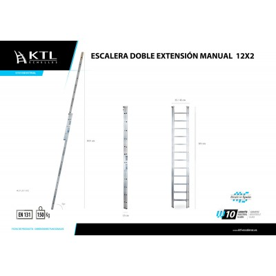 Escalera Doble Extensión Manual 12x2 Modelo 1012