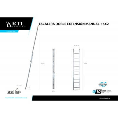 Escalera Doble Extensión Manual 15x2 Modelo 21015