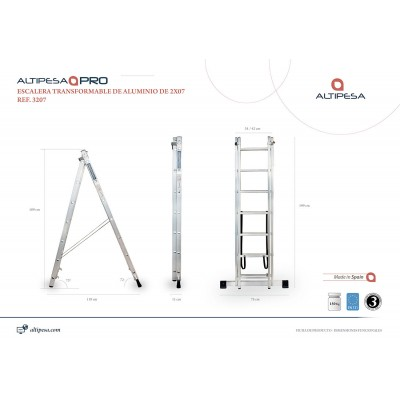 Escalera Transformable 2x7 Modelo 3207