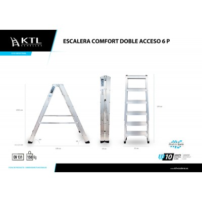 Escalera Doble con Base 9x2 Modelo 3009