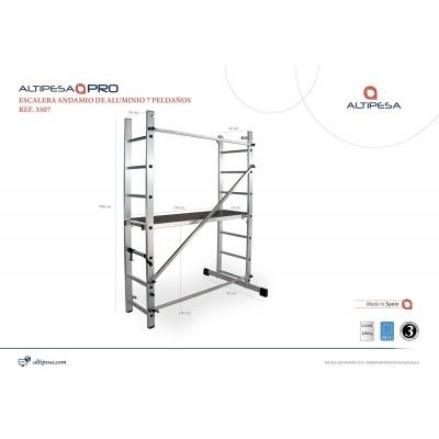 Andamio escalera aluminio 9 pelda os modelo 3509 for Escaleras 7 peldanos precio