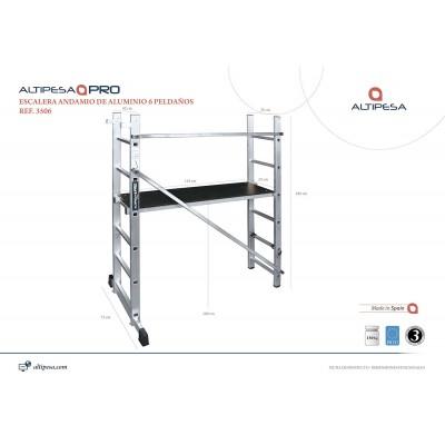 Andamio escalera aluminio 9 pelda os modelo 3509 for Escalera aluminio 2 peldanos